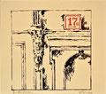 Titel: Am Abrisshaus; Technik: Siebdruck; Datum:1980; Format (HxB): 43 x 50 cm