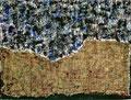 Ohne Titel; Technik: Collage - Jute und Tempera auf Papier; Datum: Format (HxB): 74 x 100 cm