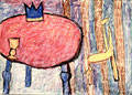 Ohne Titel; Technik: Ölkreide auf Papier; Datum: August 1992; Format (HxB): 74 x 102 cm