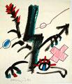 Ohne Titel; Technik: Mischtechnik auf Papier; Datum: 1985; Format (HxB): 35 x 30 cm