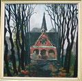 Titel: Oktobermorgen auf dem Friedhof St. Andreas; Technik Ölfarbe; Datum: 13.10.1977; Format (HxB): 68 x 68,5 cm (in Privatbesitz)