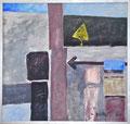 """Titel: Der Rahmen der Möglichkeiten; Datum: Februar 1984; Format (HxB): 160 x 170 cm (in Privatbesitz); Notiz des Künstler: """"Der Schein soll nie die Wirklichkeit erreichen und siegt Natur, so muss die Kunst entweichen (Schiller)"""""""