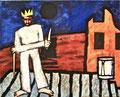 Titel: Sieger über Alle Herr von Nichts; Technik: Mischtechnik mit Zement auf Leinwand; Datum: Oktober 1993; Format (HxB): 120 x 150 cm