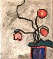 Ohne Titel; Technik: Mischtechnik mit Zement auf Leinwand; Format (HxB): 45 x 40 cm