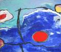Ohne Titel; Technik: Mischtechnik mit Zement auf Leinwand; Datum: August 1989; Format (HxB): 145 x 170 cm