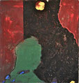 Ohne Titel; Technik: Mischtechnik mit Zement auf Leinwand; Datum: Juli 1989; Format (HxB): 111 x 105 cm