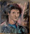 Selbstporträt nach Militärdienst; Technik: Mischtechnik; Datum: November 1976; Format (HxB): 41,5 x 38 cm