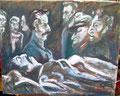 """Titel: """"Grablegung des Soldaten Biermann"""" - Replikat von """"Die Grablegung des Soldaten"""" von 1977 für Olav Münzberg; Technik: Mischtechnik auf Zeitungspapier; Datum: 08/1985; Format (HxB): 85 x 105 cm (im Privatbesitz)"""