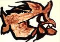 Ohne Titel; Technik: Kaffee und Tempera auf Papier; Format (HxB): 74 x 102 cm