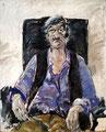 Porträt Achim Zellermayer; Technik: Mischtecchnik; Datum: Februar 1982; Format (HxB): 110 x 90 cm