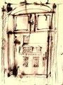 Ohne Titel; Technik: Federzeichnung auf Papier; Datum: Juli 1976; Format (HxB): 48 x 35 cm