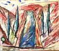 Titel: Epidauros; Technik: Mischtechnik mit Zement auf Leinwand; Datum: September 1993; Format (HxB): 120 x 140 cm
