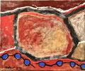 Ohne Titel; Technik: Mischtechnik mit Zement auf Leinwand; Datum: November 1990; Format (HxB): 50 x 60 cm