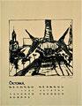 Titel: Kalenderblatt Oktober; Technik: Siebdruck; Datum:1979; Format (HxB): : 63 x 49 cm