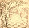 Ohne Titel; Technik: Bleistiftzeichnung; Datum: 1980; Format (HxB): 51 x 52 cm