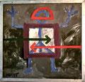 Titel: Die Insignien der Macht; Technik: Mischtechnik; Datum: Mai 1985; Format (HxB): 113 x 118 cm