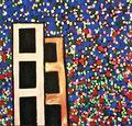 Ohne Titel; Technik: Mischtechnik mit Zement auf Leinwand; Datum: November 1992; Format (HxB): 105 x 110 cm