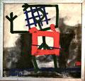 Ohne Titel; Technik: Mischtechnik; Datum: Mai 1985; Format (HxB): 113 x 118 cm