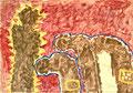 Ohne Titel; Technik: Tempera auf Papier; Datum: Juli 1986; Format (HxB): 70 x 100 cm