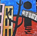 Titel: Ohne Titel (Der schwarze Mond); Technik: Mischtechnik mit Zement auf Leinwand; Datum: November 1992; Format (HxB): 135 x 135 cm