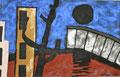 Ohne Titel (schwarzer Mond, groß); Technik: Mischtechnik mit Zement auf Leinwand; Datum: November 1992; Format (HxB): 155 x 245 cm (in Privatbesitz)