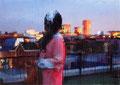 """""""都市光 (Stripe)"""" 高森幸雄 2013 oil on digital print 1030×728mm デジタルプリント、油彩 Exhibition:2013年12月 Gallery檜B"""