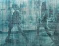 """Dancer (dot)"" 高森幸雄 2013 Optical interference pigments, acrylic on photograph 530×410mm 写真に光干渉顔料、アクリル"