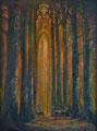 Gotische reetjes, 2015, acryl en olieverf op board. Het heilige licht van de herfst, de stilte van de echos in het statige bos.