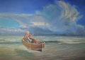 Zelfportret in Bootje. 2020, 50x70. Olieverf op doek. Als kind van 6 raakte ik een zelfgemaakt knutsel-bootje kwijt aan de woelige Noordzee. Nu, 57 jaar verder,  heb ik het weer terug, en zit zelfs aan het roer.