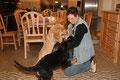 Aryas erster Kontakt mit einer Katze - Amira im Vordergrund
