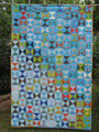 """Decke """"Yankee Puzzle"""" in türkis, RS aus BW rot [190x124 cm]"""