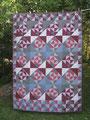 Decke weinrot-rosa-grau, RS aus BW schwarz [190x140 cm]