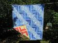 Decke Log Cabin blau-gelb, beidseitig [155x132 cm]