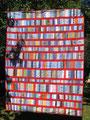 """Decke """"Ordnung in rot"""", RS aus BW rot [175x135 cm], noch nicht gequiltet"""