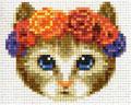 Chat couronne fleurs