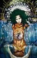 "Coaticue ©1995, Acrylic on Canvas, Dimensions 144"" w x 120"" h"