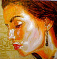 "Eva: Portrait of Eva Longoria ©2011, Acrylic on Canvas, Dimensions 9"" w x 9"" h, Private Collection"