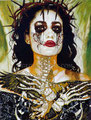 "The Crow Catrina ©2011, Acrylic on Canvas, Dimensions 30"" w x 40"" h, Private Collection"