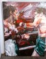 "Ruben Olivarez vs Chucho Castillo ©1991, Acrylic on Canvas, Dimensions 36"" w x 48"" h, Sean Penn Collection"