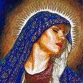 "Dolorosa Azul ©2011, Acrylic on Canvas, Dimensions 12"" w x 12"" h, Private Collection"