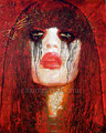 """Red Crow Catrina ©2011, Acrylic on Canvas, Dimensions 24"""" w x 30"""" h, Private Collection"""