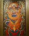 "Dragon Madonna: Portrait of Salma Hayek ©2006, Acrylic on Canvas, Dimensions 60"" w x 96"" h, Robert Rodriguez Collection"