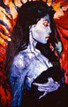 "Black Magic Woman ©1989, Acrylic on Paper, Dimensions 28"" w x 42"" h"