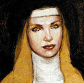 """Sor Juana ©1998, Acrylic on Canvas, Dimensions 24"""" w x 24"""" h, Private Collection"""