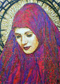 "Red Madonna II ©2006, Acrylic on Canvas, Dimensions 18"" w x 24"" h, Private Collection"