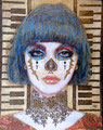 "Blue Catrina ©2010, Acrylic on Canvas, Dimensions 16"" w x 20"" h, Private Collection"