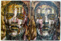 "Chingon (Diptych) ©2004, Acrylic on Canvas, Dimensions 24"" w x 24 1/4"" h, Private Collection"