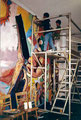 "Academia de Arte Yepes students painting the ""California State University - Student Union"" Mural • Los Angeles, CA  USA"