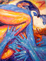 "Untitled ©1990, Acrylic on Canvas, Dimensions 36"" w x 48"" h"