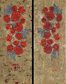 "Roses I & Roses II (Diptych) ©2008, Acrylic & Gold Leaf on Canvas, Dimensions 17 1/2"" w x 45"" h, Private Collection"